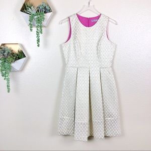Eliza j gold and cream jacquard fit n flare dress